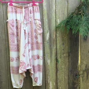 Pants - Om Yoga Thai Hippie Baggy Boho Pants Unisex OS